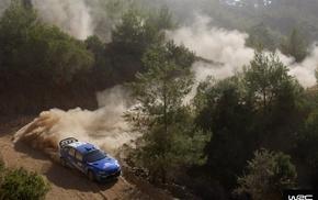 Subaru, rally cars, dust