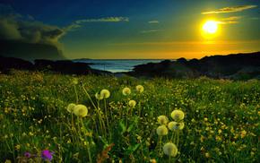 mountain, sunset, nature