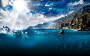 iceberg, split view, Sun, water, clouds