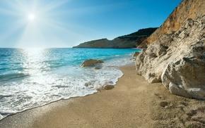 sea, Greece, sand, nature, rocks