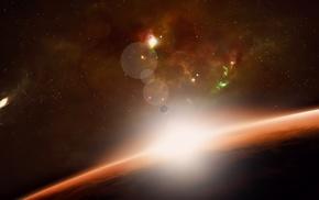 3d, космос, планета, восход, галактика