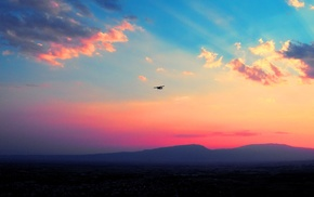 sunset, mountain, airplane, clouds