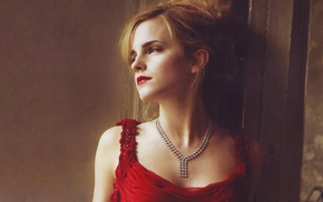 girl, Emma Watson, red dress, actress, blonde