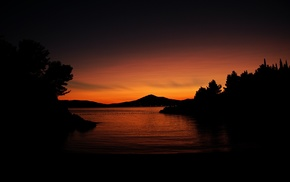 sunset, hill, orange, water, trees, dark