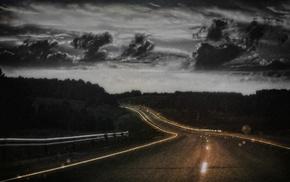 nature, rain, road, clouds, lights