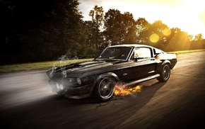 cars, car, smoke, girl, fire