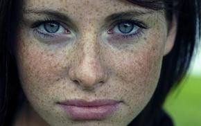 freckles, brunette, face, blue eyes