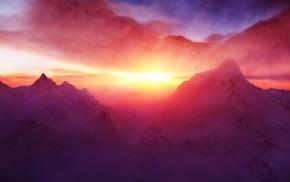 закат, горы, снежная вершина, снег