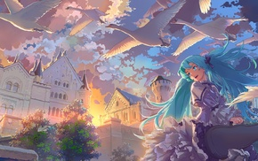 anime girls, Vocaloid, Hatsune Miku, birds, castle