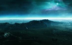 звезды, aurorae, космос, зеленый, синий