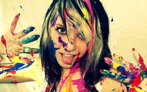 colorful, body paint, tongues, white background, blue eyes, teeth