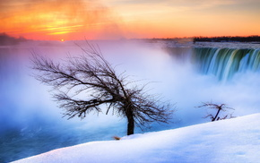 snow, river, winter, stunner, tree