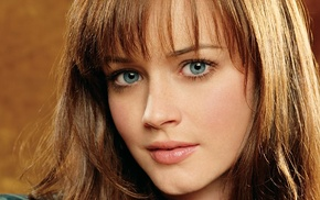closeup, face, blue eyes, brunette, girl, Alexis Bledel