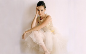 girl, dress, sitting, white dress, brunette, Alexis Bledel
