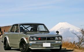 Hakosuka, Nissan, Mount Fuji, Nissan Skyline, car, GT2000