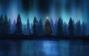 aurorae, лес, елки, пейзаж