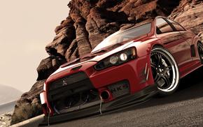 cars, red, Mitsubishi