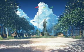 flag, statue, Soviet Games everlasting Summer, Everlasting Summer, blue, anime