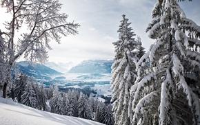 природа, горы, пейзаж, снег, Зима