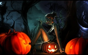 anime girls, Nami, Halloween, One Piece