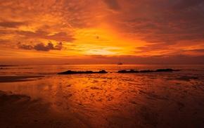 природа, пейзаж, пляж, закат, море