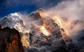 снежная вершина, пейзаж, природа, шторм