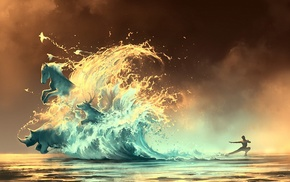 rhino, artwork, water, waves, AquaSixio, Avatar
