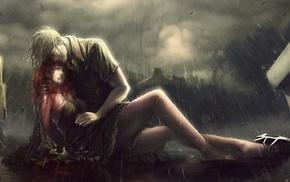 rain, redhead, artwork, blood, people, girl