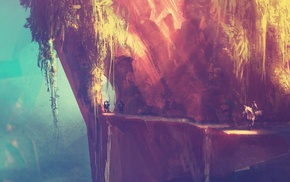 фантастическое исскуство, произведение искусства, воин, долина, горы