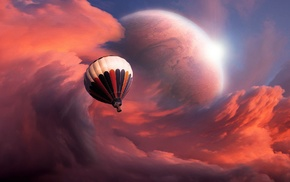clouds, hot air balloons, colorful, fantasy art, planet, artwork