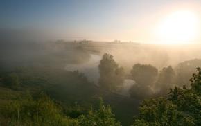 mist, river, landscape, field
