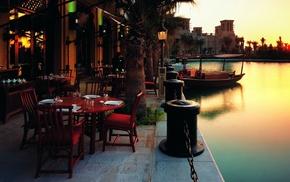 cityscape, city, sunset, river, urban, restaurant