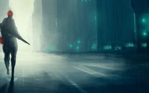 city, alone, street, fantasy art, concept art, futuristic