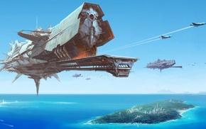 море, космический корабль, произведение искусства, фантастическое исскуство, война