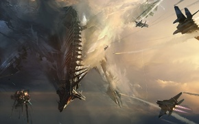 battle, sky, jets, dragon, war, fantasy art