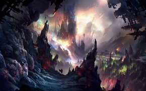 cave, artwork, mountain, castle, fantasy art