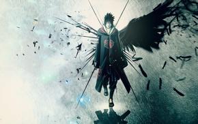 Naruto Shippuuden, Akatsuki, wings, anime, Uchiha Sasuke