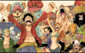 One Piece, anime, Tony Tony Chopper, Sanji, Brook, Nami