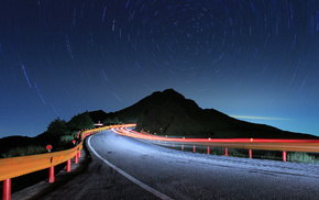 road, stars, lights, nature, night