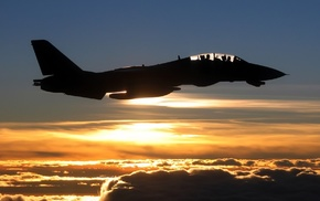 airplane, silhouette, Grumman F, 14 Tomcat, military aircraft, clouds