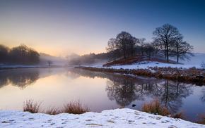пейзаж, река, деревья, берег, утро, снег