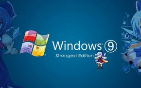 anime girls, Touhou, Cirno, Microsoft Windows