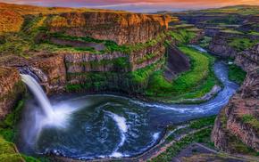 rocks, waterfall, canyon, nature