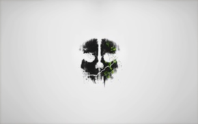 gray, black, Call of Duty Ghosts, skull, minimalism, green