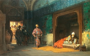 traditional clothing, prisons, Islamic architecture, classic art, painting, warrior