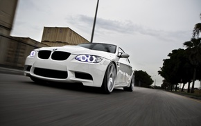 cars, BMW, white, road, m3