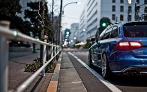 blue, cars, street, city, motion blur