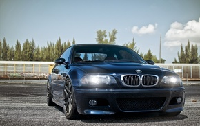 BMW, sky, tuning, headlights, blue