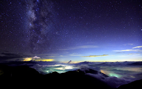 nature, mountain, Japan, night, sky