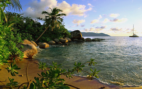 yacht, sea, stones, nature, surf